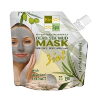 Unisex Bio Spa Dead Sea Mud Mask 3 In 1 With Olive Leafs Extract - 75 gm